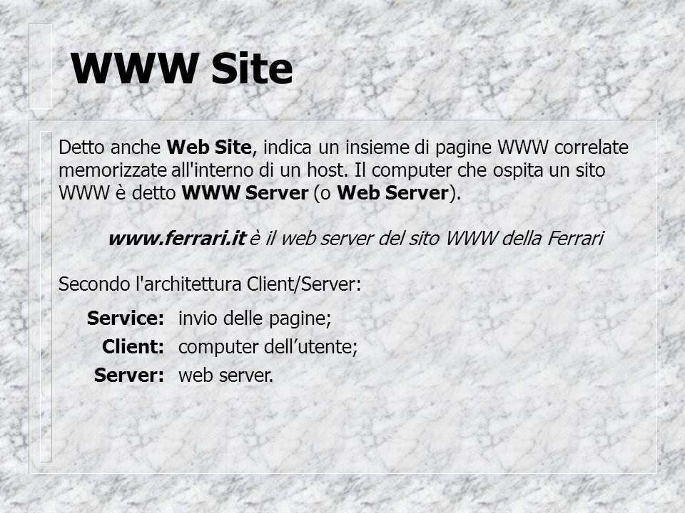 WWW Site Detto anche Web Site, indica un insieme di pagine WWW correlate memorizzate all interno di un host.