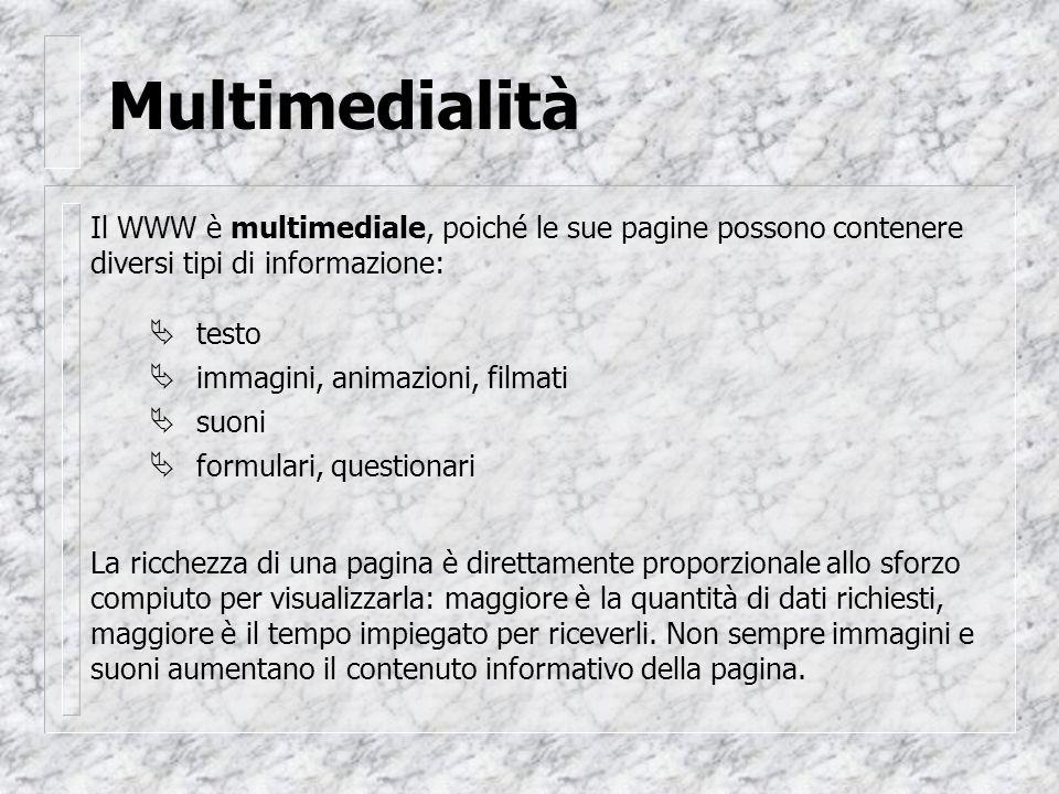 Multimedialità Il WWW è multimediale, poiché le sue pagine possono contenere diversi tipi di informazione: testo immagini, animazioni, filmati suoni formulari, questionari La ricchezza di una pagina è direttamente proporzionale allo sforzo compiuto per visualizzarla: maggiore è la quantità di dati richiesti, maggiore è il tempo impiegato per riceverli.