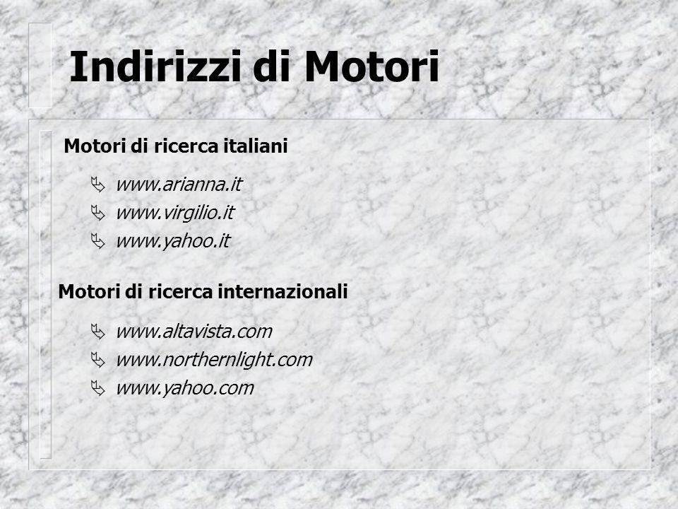 Indirizzi di Motori Motori di ricerca italiani www.arianna.it www.virgilio.it www.yahoo.it Motori di ricerca internazionali www.altavista.com www.northernlight.com www.yahoo.com      