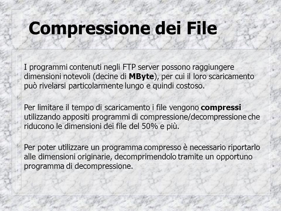 Compressione dei File I programmi contenuti negli FTP server possono raggiungere dimensioni notevoli (decine di MByte), per cui il loro scaricamento può rivelarsi particolarmente lungo e quindi costoso.