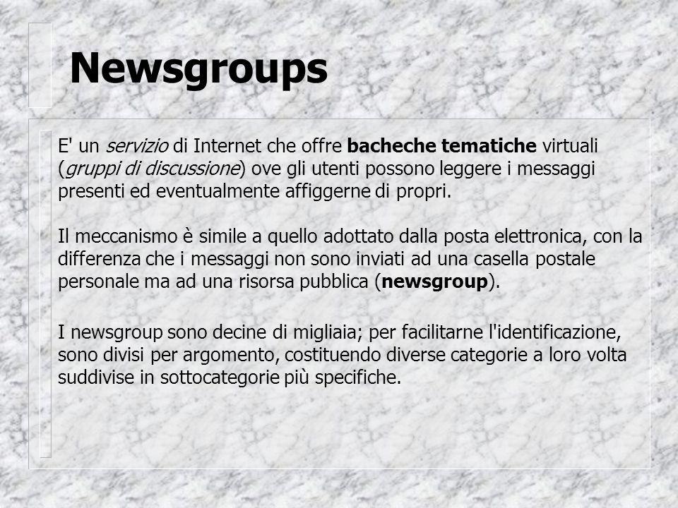 Newsgroups E un servizio di Internet che offre bacheche tematiche virtuali (gruppi di discussione) ove gli utenti possono leggere i messaggi presenti ed eventualmente affiggerne di propri.