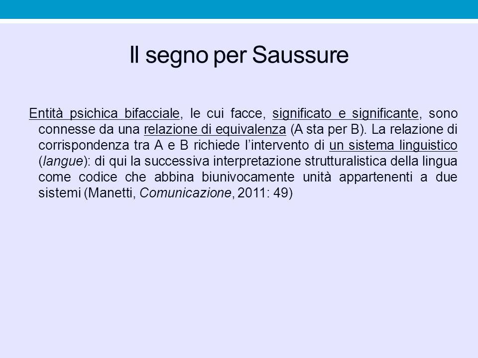 Il segno per Saussure Entità psichica bifacciale, le cui facce, significato e significante, sono connesse da una relazione di equivalenza (A sta per B