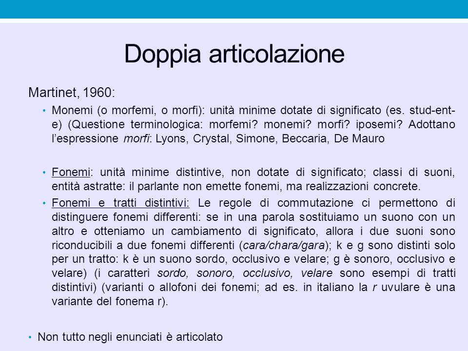 Doppia articolazione Martinet, 1960: Monemi (o morfemi, o morfi): unità minime dotate di significato (es. stud-ent- e) (Questione terminologica: morfe