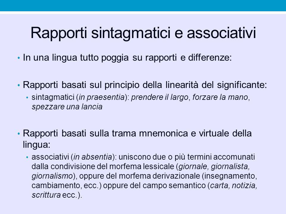 Rapporti sintagmatici e associativi In una lingua tutto poggia su rapporti e differenze: Rapporti basati sul principio della linearità del significant