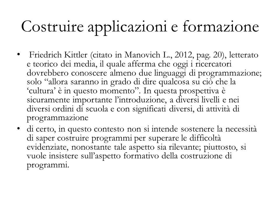 Friedrich Kittler (citato in Manovich L., 2012, pag. 20), letterato e teorico dei media, il quale afferma che oggi i ricercatori dovrebbero conoscere