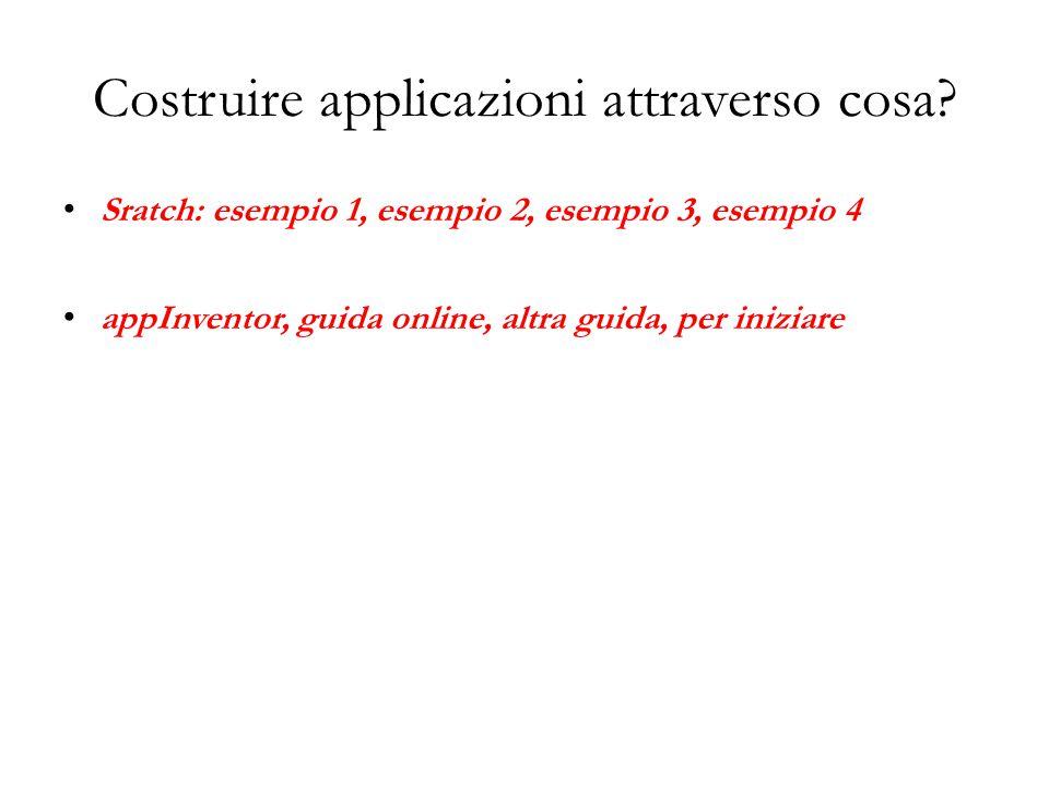 Costruire applicazioni attraverso cosa? Sratch: esempio 1, esempio 2, esempio 3, esempio 4 appInventor, guida online, altra guida, per iniziare
