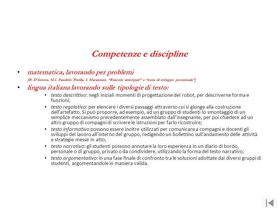 """Competenze e discipline matematica, lavorando per problemi [B. D'Amore, M.I. Fandiño Pinilla, I. Marazzani, """"Esercizi anticipati"""" e """"zona di sviluppo"""
