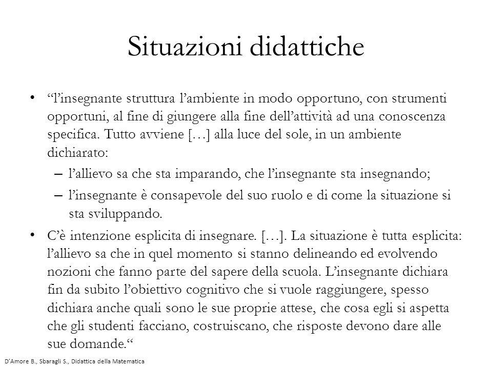 """Situazioni didattiche """"l'insegnante struttura l'ambiente in modo opportuno, con strumenti opportuni, al fine di giungere alla fine dell'attività ad un"""