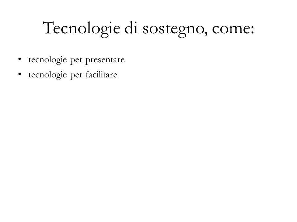 Tecnologie di sostegno, come: tecnologie per presentare tecnologie per facilitare