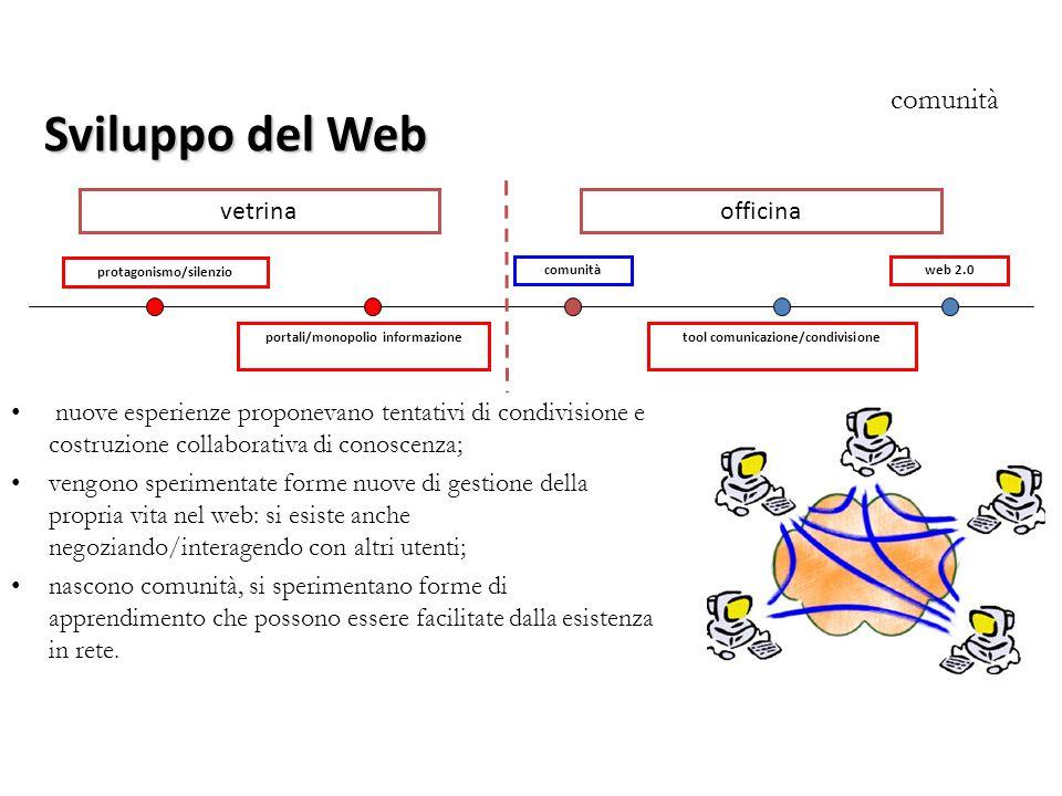 protagonismo/silenzio tool comunicazione/condivisione comunitàweb 2.0 Sviluppo del Web comunità nuove esperienze proponevano tentativi di condivisione