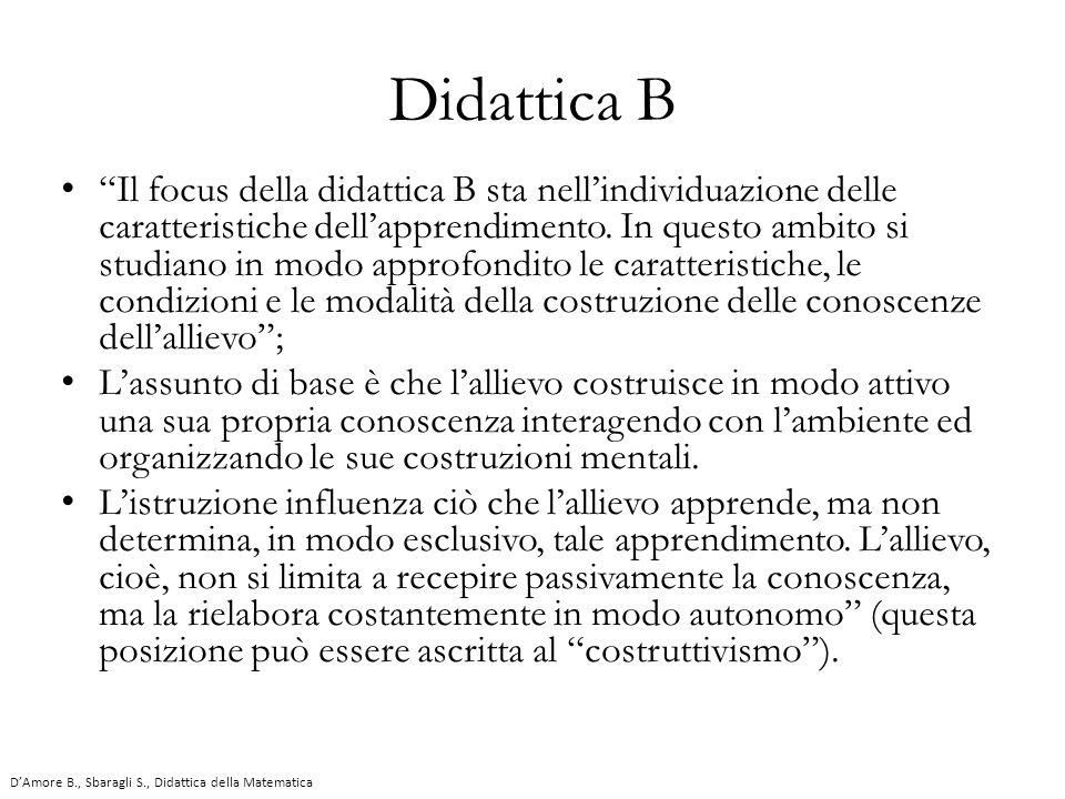 """Didattica B """"Il focus della didattica B sta nell'individuazione delle caratteristiche dell'apprendimento. In questo ambito si studiano in modo approfo"""