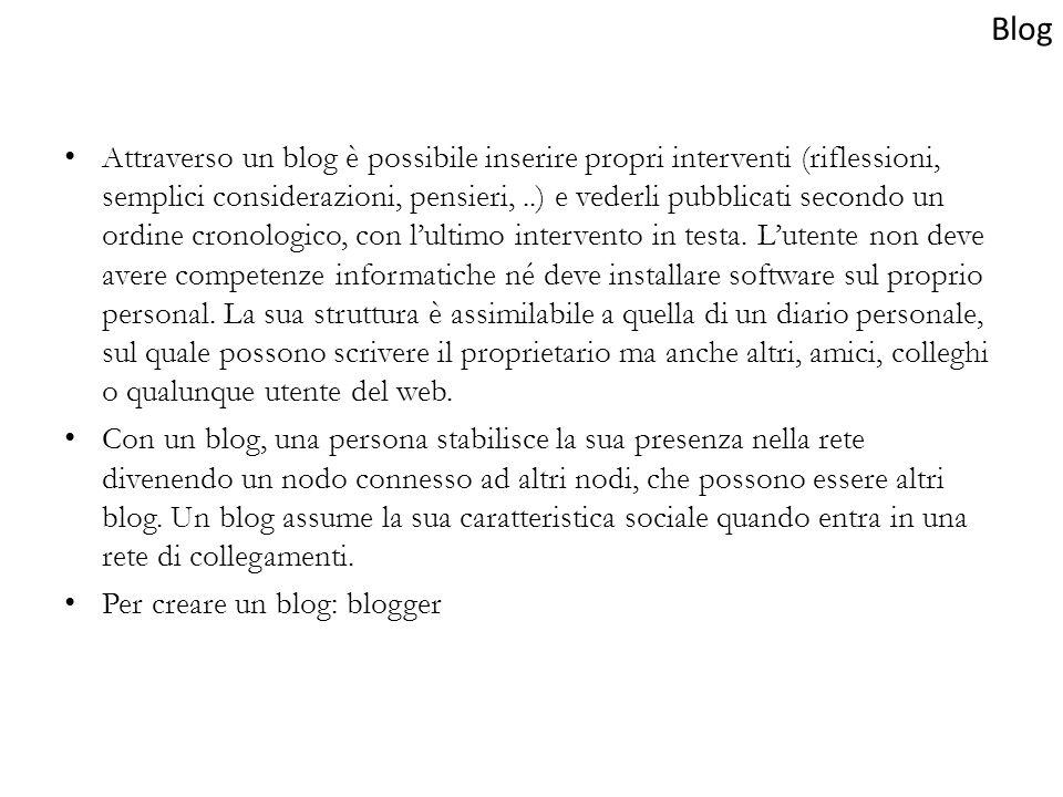 Attraverso un blog è possibile inserire propri interventi (riflessioni, semplici considerazioni, pensieri,..) e vederli pubblicati secondo un ordine c
