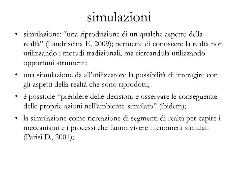 """simulazioni simulazione: """"una riproduzione di un qualche aspetto della realtà"""" (Landriscina F., 2009); permette di conoscere la realtà non utilizzando"""