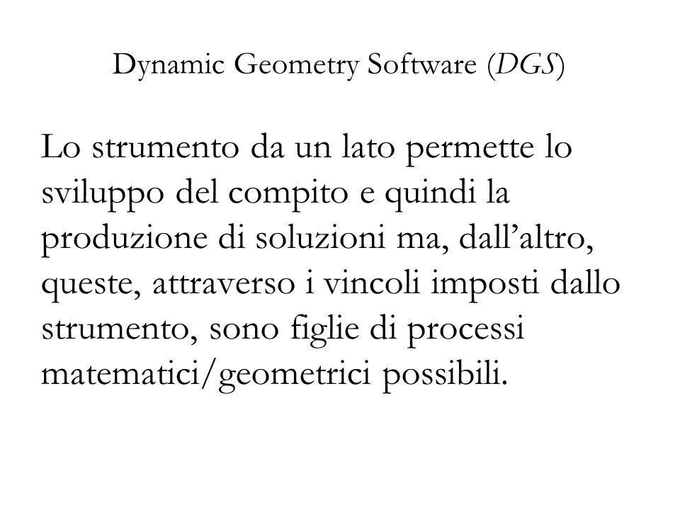 Dynamic Geometry Software (DGS) Lo strumento da un lato permette lo sviluppo del compito e quindi la produzione di soluzioni ma, dall'altro, queste, a