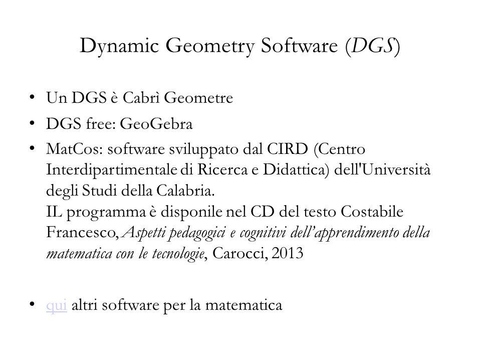 Un DGS è Cabrì Geometre DGS free: GeoGebra MatCos: software sviluppato dal CIRD (Centro Interdipartimentale di Ricerca e Didattica) dell'Università de