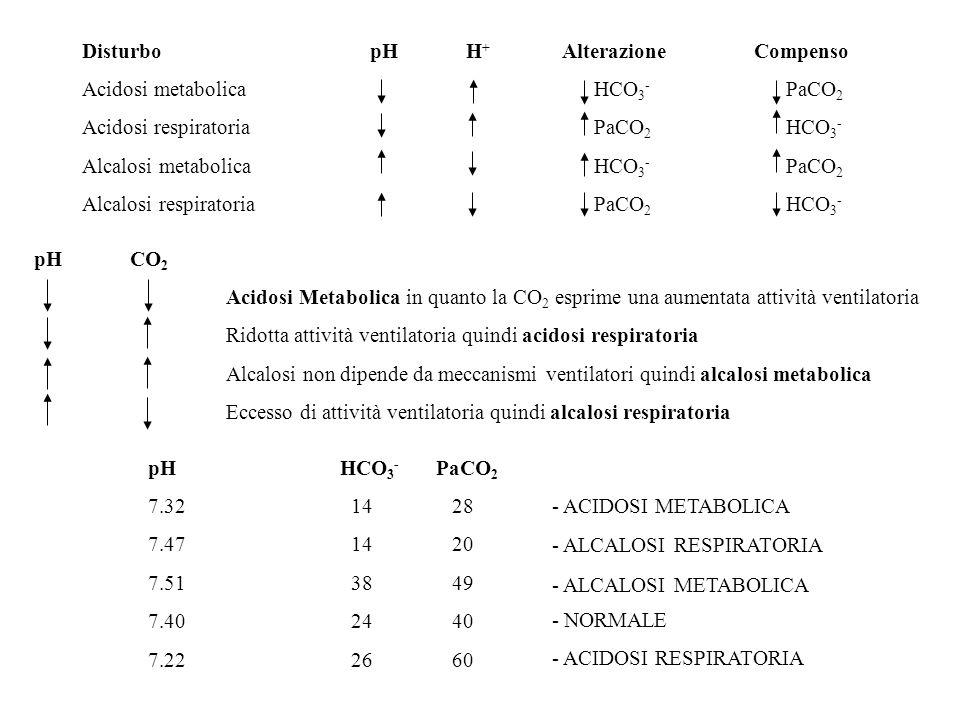 DisturbopHH + Alterazione Compenso Acidosi metabolica HCO 3 - PaCO 2 Acidosi respiratoria PaCO 2 HCO 3 - Alcalosi metabolica HCO 3 - PaCO 2 Alcalosi r