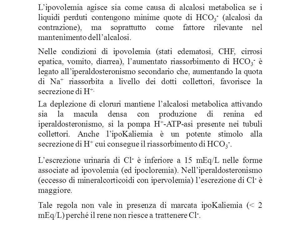 L'escrezione urinaria di Cl - è inferiore a 15 mEq/L nelle forme associate ad ipovolemia (ed ipocloremia). Nell'iperaldosteronismo (eccesso di mineral