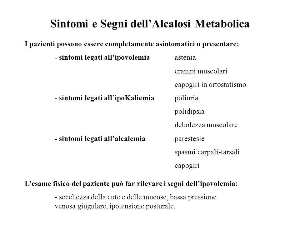 Sintomi e Segni dell'Alcalosi Metabolica I pazienti possono essere completamente asintomatici o presentare: - sintomi legati all'ipovolemia astenia cr