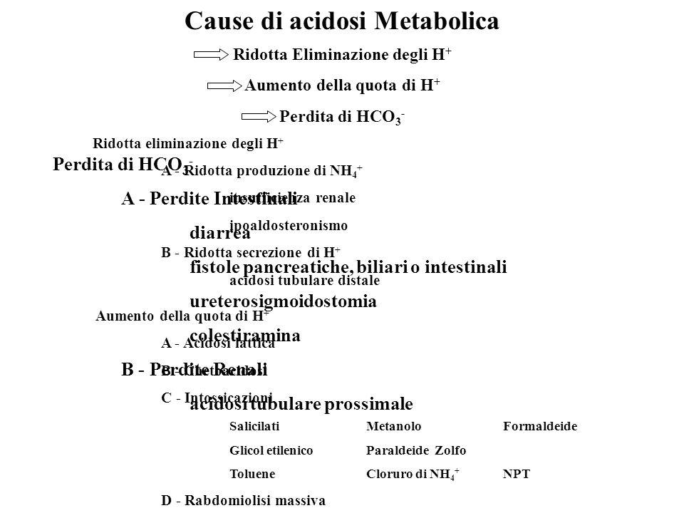 Cause di acidosi Metabolica Ridotta Eliminazione degli H + Aumento della quota di H + Perdita di HCO 3 - Ridotta eliminazione degli H + A - Ridotta pr