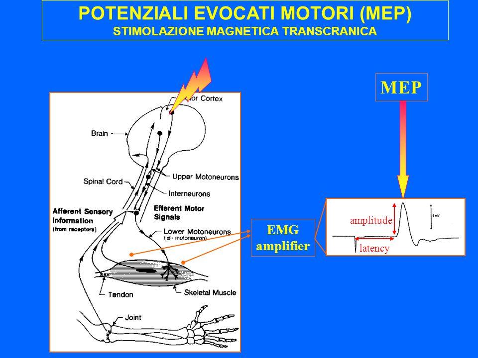 """POTENZIALI EVOCATI MOTORI (MEP) STIMOLAZIONE MAGNETICA TRANSCRANICA MISURA DELLA CONDUZIONE CENTRALE """"non-focal"""" circular coil """"focal"""" figure-of-eight"""