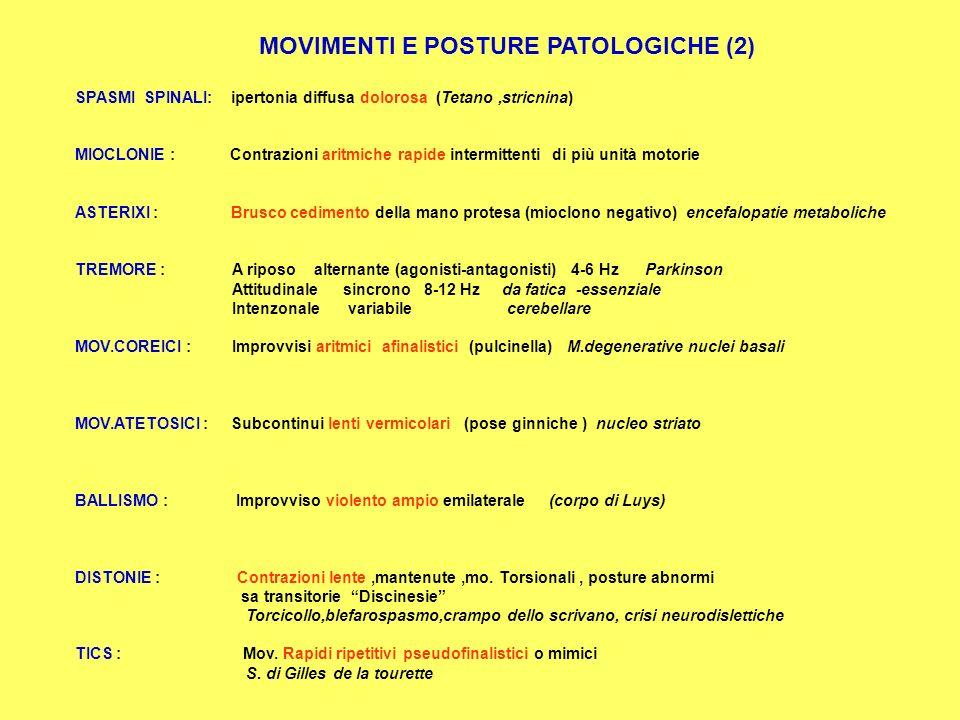 MOVIMENTI E POSTURE PATOLOGICHE (1) CONTRATTURA : Accorciamento persistente delle fibrocellule musc. EMG silente (miopatie metaboliche) MIOTONIA : Rit