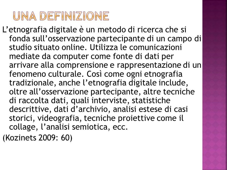 L'etnografia digitale è un metodo di ricerca che si fonda sull'osservazione partecipante di un campo di studio situato online. Utilizza le comunicazio