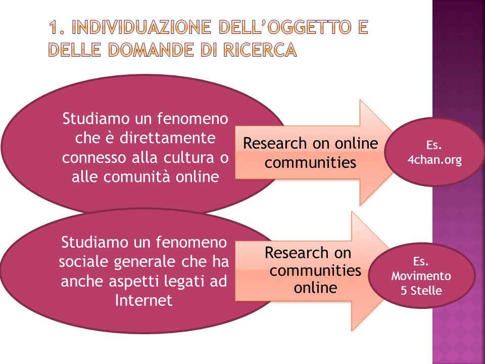 Studiamo un fenomeno che è direttamente connesso alla cultura o alle comunità online Studiamo un fenomeno sociale generale che ha anche aspetti legati