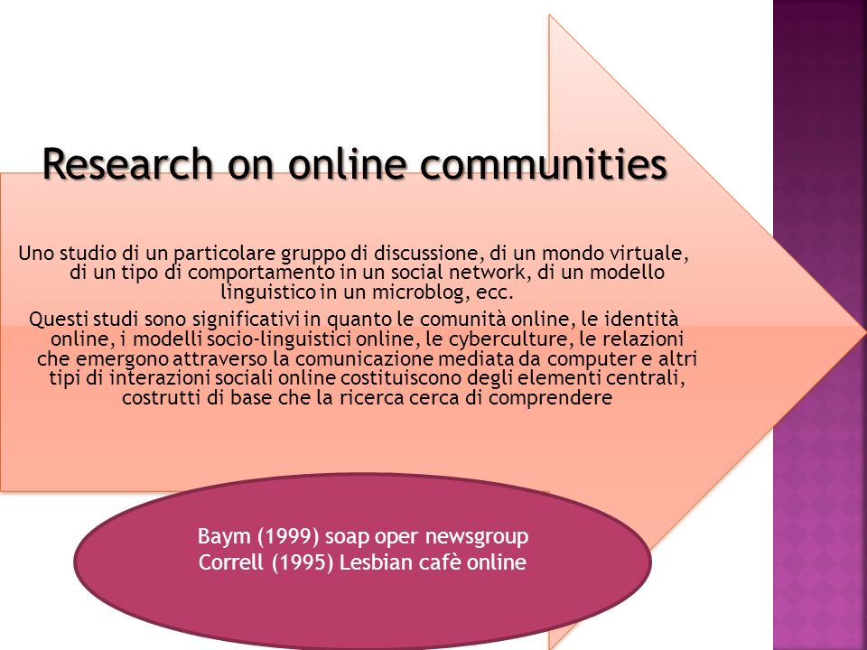 Research on online communities Uno studio di un particolare gruppo di discussione, di un mondo virtuale, di un tipo di comportamento in un social netw