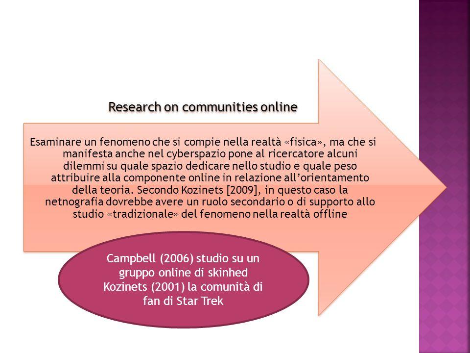 Research on communities online Esaminare un fenomeno che si compie nella realtà «fisica», ma che si manifesta anche nel cyberspazio pone al ricercator