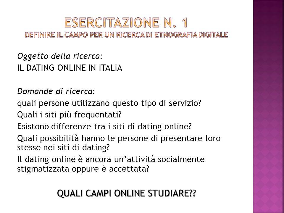 Oggetto della ricerca: IL DATING ONLINE IN ITALIA Domande di ricerca: quali persone utilizzano questo tipo di servizio? Quali i siti più frequentati?