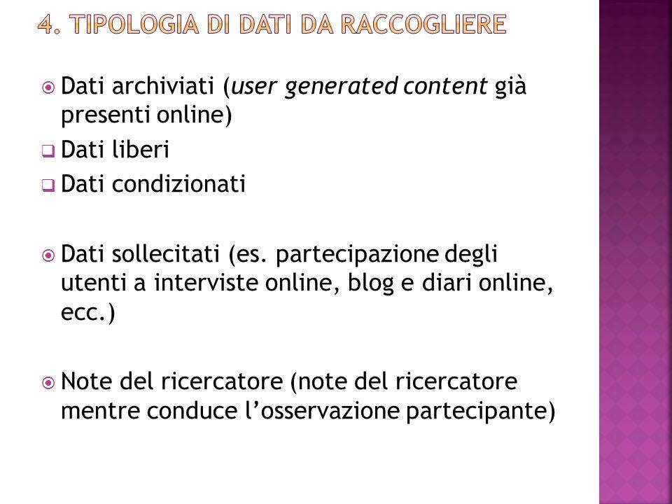  Dati archiviati (user generated content già presenti online)  Dati liberi  Dati condizionati  Dati sollecitati (es. partecipazione degli utenti a