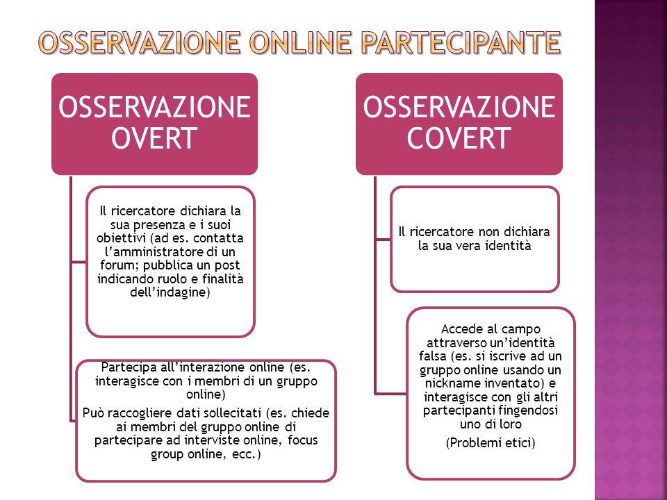 OSSERVAZIONE OVERT Il ricercatore dichiara la sua presenza e i suoi obiettivi (ad es. contatta l'amministratore di un forum; pubblica un post indicand
