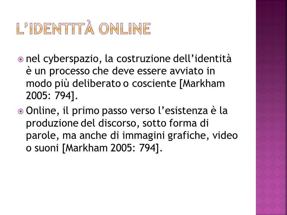  nel cyberspazio, la costruzione dell'identità è un processo che deve essere avviato in modo più deliberato o cosciente [Markham 2005: 794].  Online