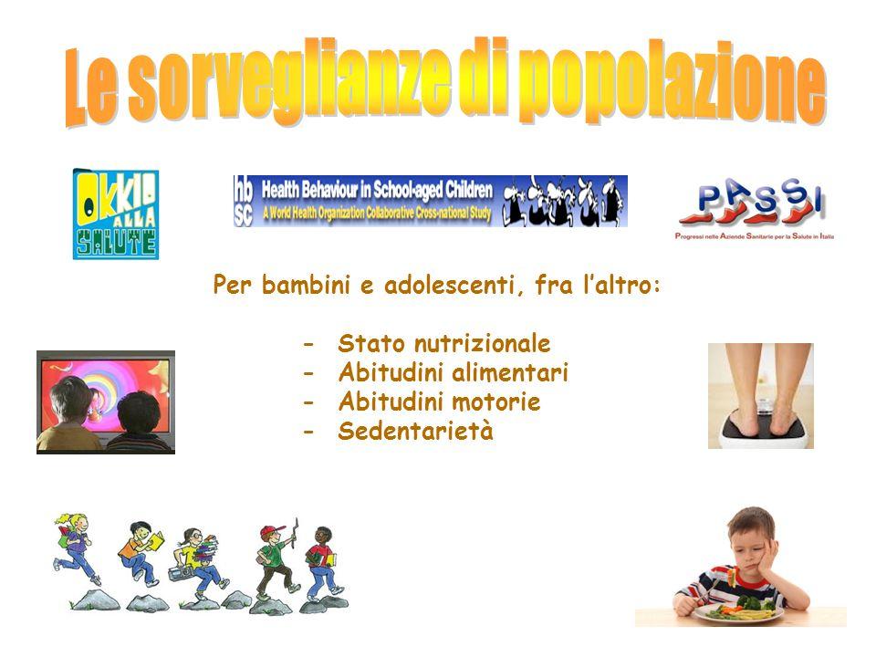 Per bambini e adolescenti, fra l'altro: - Stato nutrizionale - Abitudini alimentari - Abitudini motorie - Sedentarietà