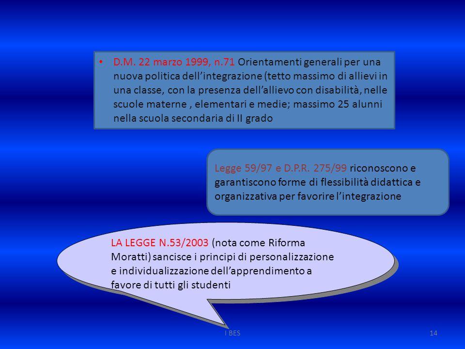 I BES14 D.M. 22 marzo 1999, n.71 Orientamenti generali per una nuova politica dell'integrazione (tetto massimo di allievi in una classe, con la presen