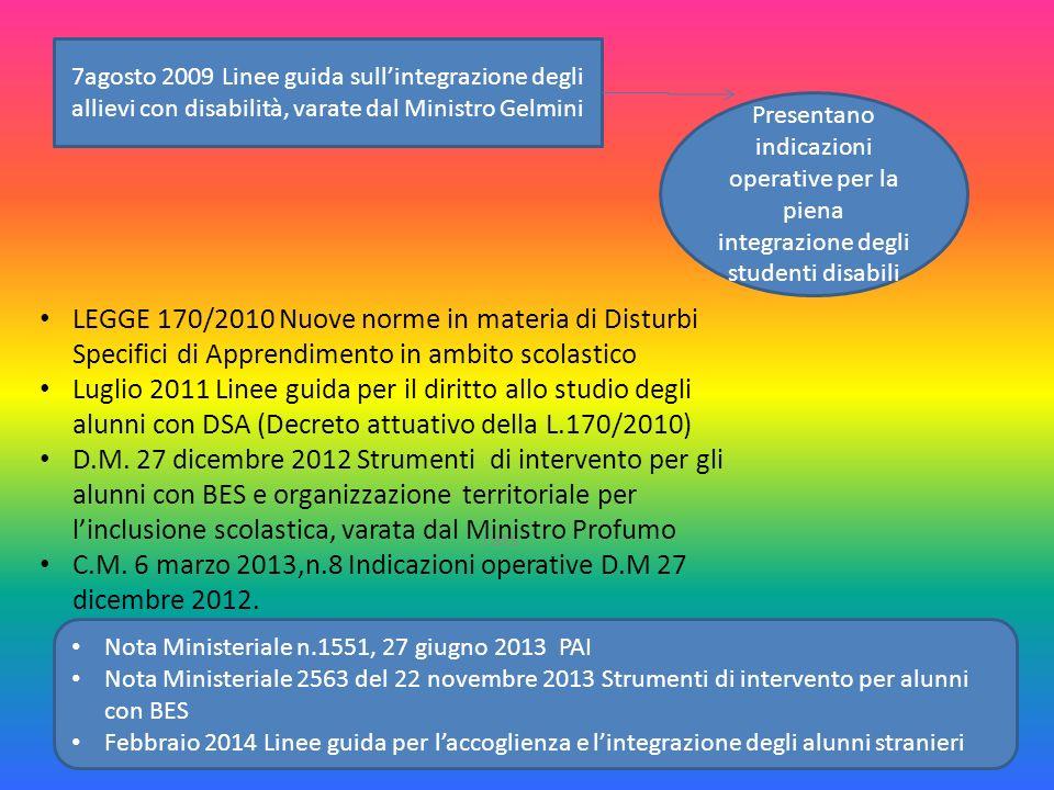 I BES 17 7agosto 2009 Linee guida sull'integrazione degli allievi con disabilità, varate dal Ministro Gelmini Presentano indicazioni operative per la