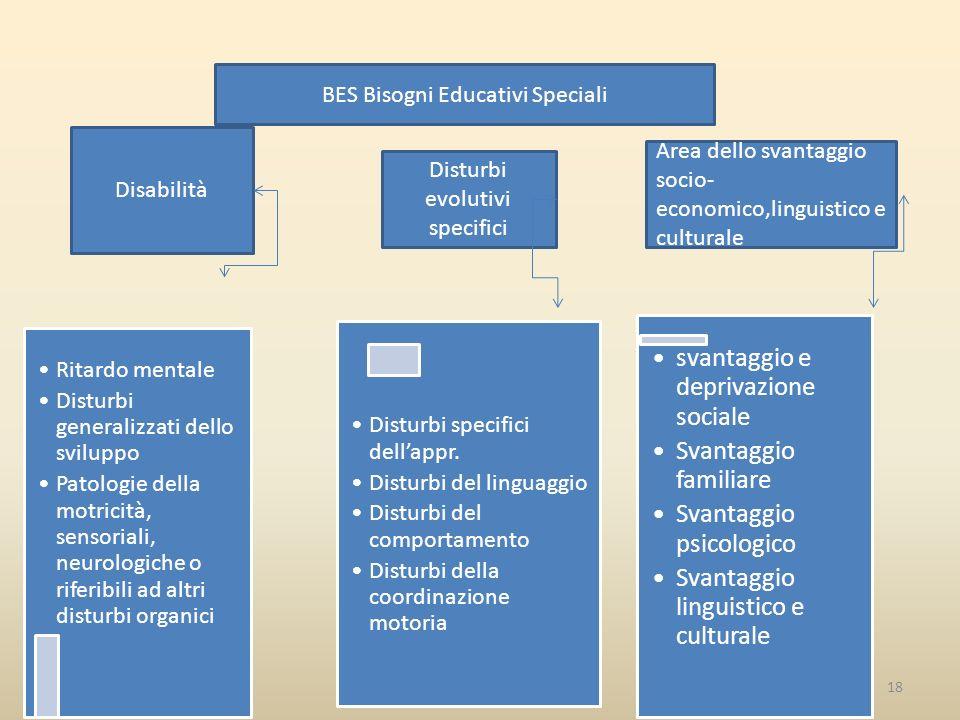 I BES18 BES Bisogni Educativi Speciali Ritardo mentale Disturbi generalizzati dello sviluppo Patologie della motricità, sensoriali, neurologiche o riferibili ad altri disturbi organici Disturbi specifici dell'appr.