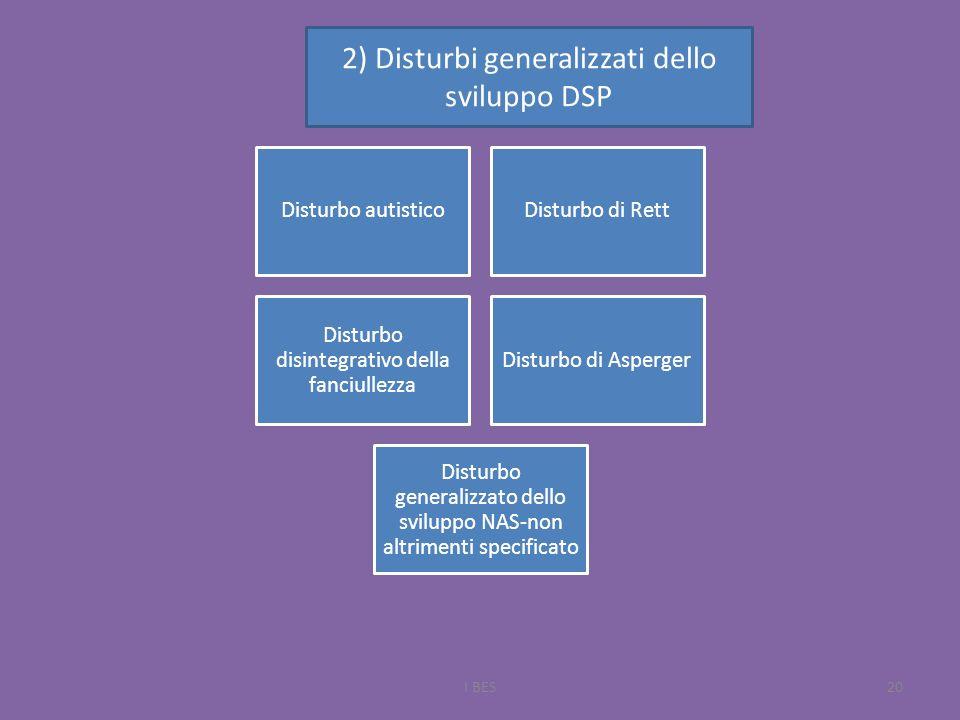 I BES20 Disturbo autisticoDisturbo di Rett Disturbo disintegrativo della fanciullezza Disturbo di Asperger Disturbo generalizzato dello sviluppo NAS-non altrimenti specificato 2) Disturbi generalizzati dello sviluppo DSP