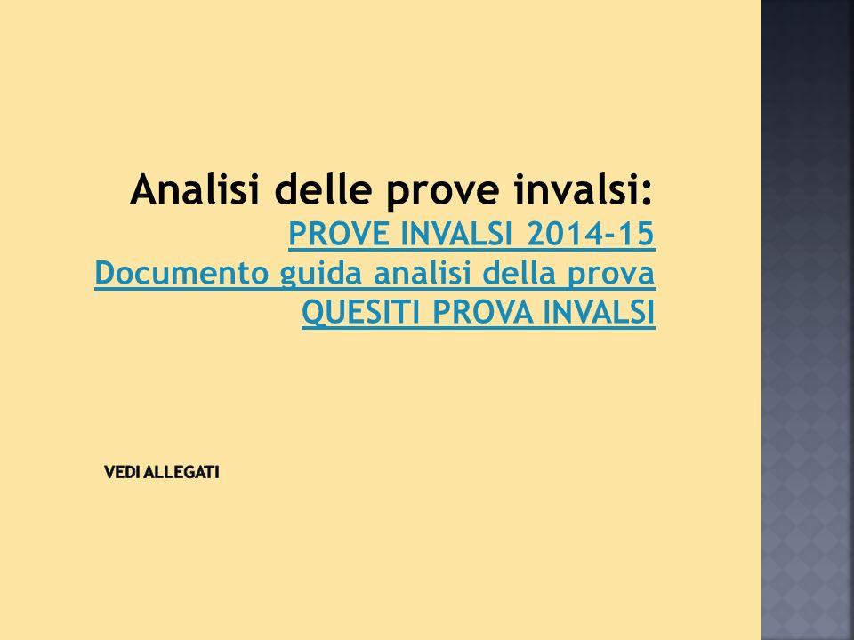 Analisi delle prove invalsi: PROVE INVALSI 2014-15 Documento guida analisi della prova QUESITI PROVA INVALSI