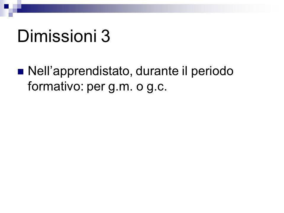 Dimissioni 3 Nell'apprendistato, durante il periodo formativo: per g.m. o g.c.