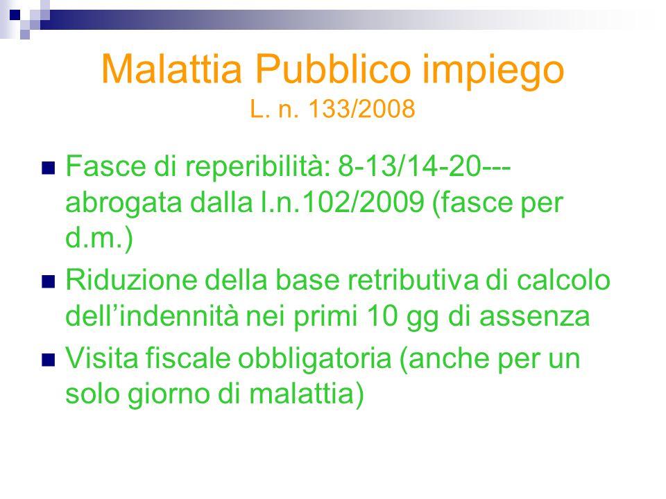 Malattia Pubblico impiego L. n. 133/2008 Fasce di reperibilità: 8-13/14-20--- abrogata dalla l.n.102/2009 (fasce per d.m.) Riduzione della base retrib