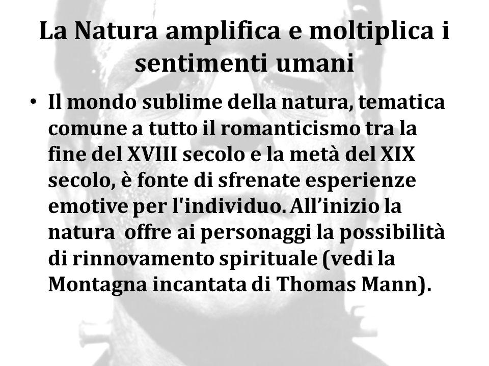 La Natura amplifica e moltiplica i sentimenti umani Il mondo sublime della natura, tematica comune a tutto il romanticismo tra la fine del XVIII secol