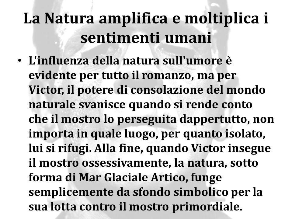 La Natura amplifica e moltiplica i sentimenti umani L'influenza della natura sull'umore è evidente per tutto il romanzo, ma per Victor, il potere di c