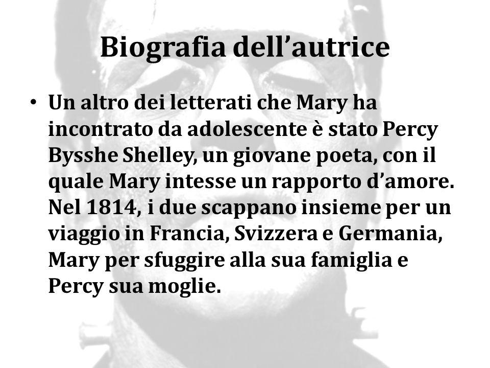 Biografia dell'autrice Un altro dei letterati che Mary ha incontrato da adolescente è stato Percy Bysshe Shelley, un giovane poeta, con il quale Mary