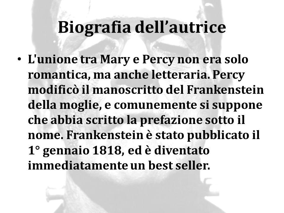 Biografia dell'autrice L'unione tra Mary e Percy non era solo romantica, ma anche letteraria. Percy modificò il manoscritto del Frankenstein della mog