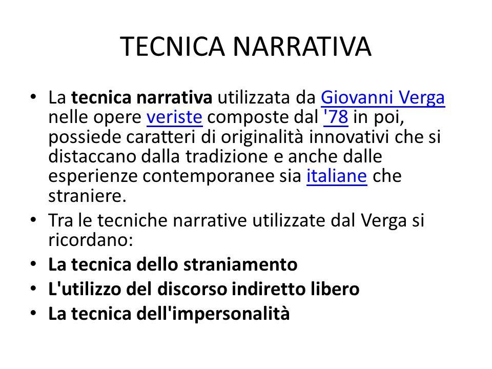 TECNICA NARRATIVA La tecnica narrativa utilizzata da Giovanni Verga nelle opere veriste composte dal '78 in poi, possiede caratteri di originalità inn