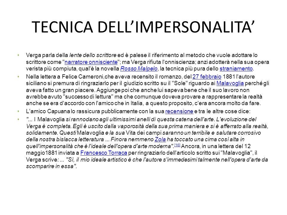 TECNICA DELL'IMPERSONALITA' Verga parla della lente dello scrittore ed è palese il riferimento al metodo che vuole adottare lo scrittore come