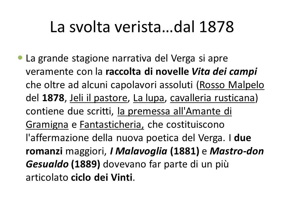 La svolta verista…dal 1878 La grande stagione narrativa del Verga si apre veramente con la raccolta di novelle Vita dei campi che oltre ad alcuni capo