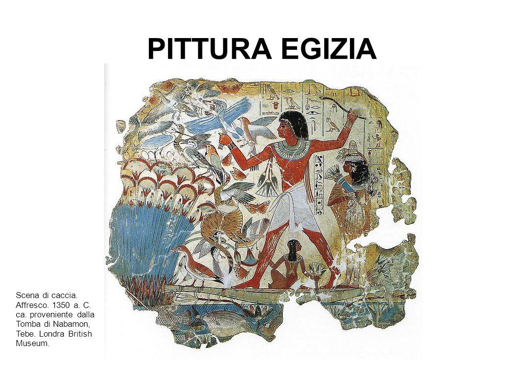 PITTURA EGIZIA Scena di caccia. Affresco. 1350 a. C. ca. proveniente dalla Tomba di Nabamon, Tebe. Londra British Museum.