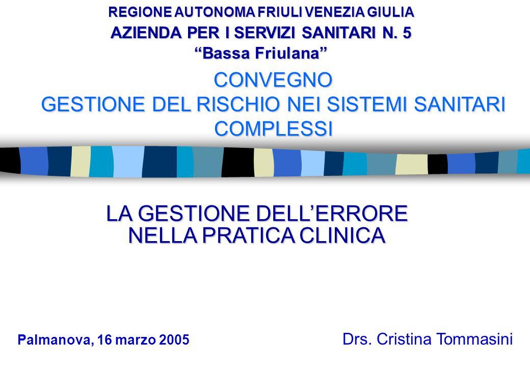 CONVEGNO GESTIONE DEL RISCHIO NEI SISTEMI SANITARI COMPLESSI Drs. Cristina Tommasini REGIONE AUTONOMA FRIULI VENEZIA GIULIA AZIENDA PER I SERVIZI SANI